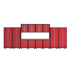 NewAge Products Bold Series 14 Piece Cabinet Set Red