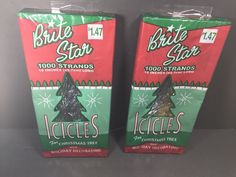 "2 Packages Vintage Brite Star Christmas Tinsel 1000 Strands Per Box 18"" Long #BriteStar"