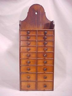 Antique Wall Hanging 18 Drawer Apothecary Spice Chest Cabinet