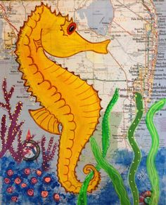Seahorse mixed media by russgang on Etsy