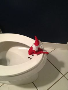 Elf on the Shelf idea - this would be hilarious for my potty training son right now-- to say see even our Elf uses the potty!!