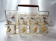Highball Tumblers Frosted Gold Leaf Glasses With Caddy Mid