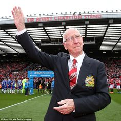 Sir Bobby Charlton is moved to tears acknowledging the Old Trafford crowd as the south stand is renamed in his honour