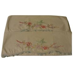 Birds and Flowers Embroidered and Crocheted Pillowcases - b145