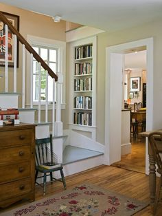 Bookcase nook on the staircase