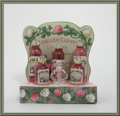 English Clover Perfume Display Kit Dollhouse Miniature Perfume Display Kit [LB212] - $25.00 : Cynthia Howe Miniatures!, Your premier source for Dollhouse Miniatures, Miniature Classes, Miniature Dolls and Molds, Kits and Free Tutorials.