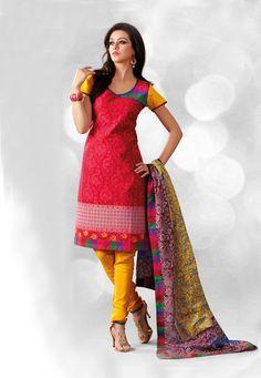 #Red and #Pink Cotton #Churidar Kameez @ $32.20