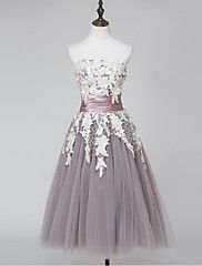 Ball+Gown+Strapless+Tea+Length+Lace+Satin+Tulle+Cocktail+Party+Homecoming+Prom+Dress+with+Lace+by+ARMK+–+USD+$+200.00