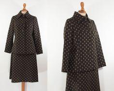 Vintage 60s Brown Jacket + Skirt Suit / Jackie O Style / Brown Jacket and Skirt Set by MyLoftVintage on Etsy