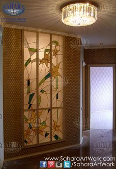 What do you think of this interior window stained glass insert with floral design?