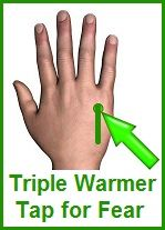Triple Warmer Tap For Fear - 1. Place the hand to be tapped over the center of your chest.  2. With your other hand, tap it on the valley between the ring finger and little finger, above the knuckle (toward the wrist).  Tap firmly, about 10 times, breathing deeply.  3. Pause and take another deep breath.  4. Tap about 30 more times.  5. Repeat steps above switching hands.