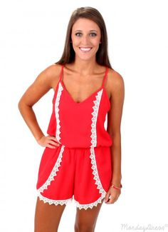 Red Crash My Party Crochet Romper