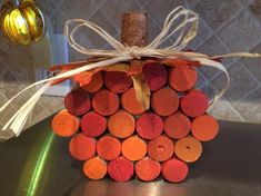 These fall wine cork pumpkins are made up of 25 corks and will add a cute & interesting touch to your fall decor. Each pumpkin measures 4 Fall Projects, Craft Night, Craft Gifts, Pumpkins, Gift Wrapping, Xmas Trees, Wine Corks, Crafty, Fall Decorations