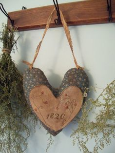 Primitive Cross Stitch Hanging Heart Pinkeep by SimpleThymePrims