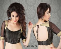 Black Brocade Fabric Saree Blouse