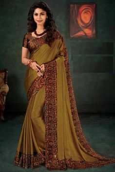 Sea Green Color Fancy Embroidered Wedding Wear Saree In Art Silk Fabric With Designer Blouse Designer Silk Sarees, Art Silk Sarees, Chiffon Saree, Georgette Sarees, Blouse Online, Sarees Online, Peach Saree, Bollywood, Yellow Online