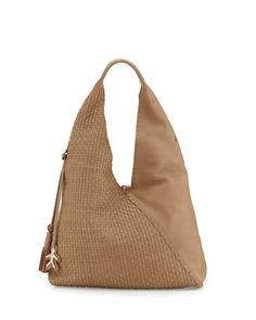 V29E1 Henry Beguelin Canotta Woven Leather Hobo Bag, Dark Taupe