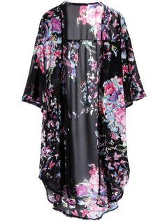 Black Half Sleeve Floral Chiffon Loose Blouse US$28.33