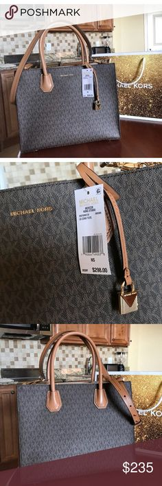 $298 Michael Kors Mercer Purse MK Designer Handbag 🔥⏳ LAST 1! ⏳🔥 Guaranteed authentic 30S7GM9T3V / Retail: $298 / Model: MERCER LG CONV TOTE / Brown / Genuine Leather / Fully adjustable detachable shoulder strap / Roomy interior compartments / Gold hardware / 15 long - 12 Tall - 10 wide open (LARGE) / Rare find 🔥💎💎 STUNNING! 💎💎🔥 New with Michael kors care card and UPC tag / UPC: 190864490038 / No trades 🔥😎 Shipped same business day 😎🔥 Buy now or submit your best offer today…
