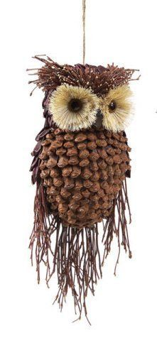 "pinecone animal ornaments | 13"" Modern Lodge Pine Cone and Twig Owl Christmas Ornament Decoration:"
