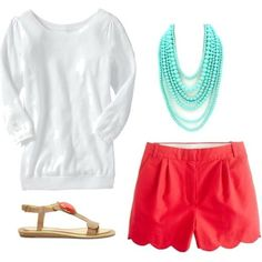 A pop of color from coral shorts