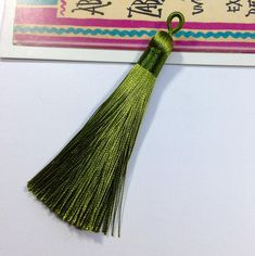 Olive Green Silky Tassel Charm 88mm Moroccan & Indian Bohemian style for interior / boho jewelry making