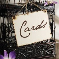 "Cards sign to tie onto bird cage or card box.    *This listing is for the sign only Bird cage picture sold here http://thatweddingboutique.storenvy.com/products/493843-bird-cages-wedding-card-holder-17    wood sign  handmade  5""x4""  burnt edges  comes with a hemp twine tie  made in USA"