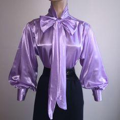 LAVENDER Shiny LIQUID SATIN Vtg St BOW BLOUSE Top HIGH NECK Shirt S M L 1X 2X 3X #tamarstreasures #Blouse #EveningOccasion