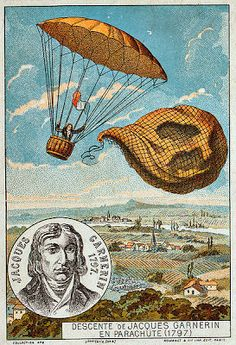 Early flight trading card. Marie Hackman saw Garnerin's show in St. Petersburg in June 1803.