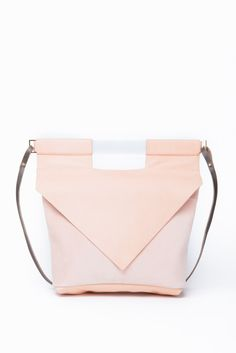 Geometric Nude Slim Bag with Frosted Acrylic Handle and Leather Strap by Chiyome
