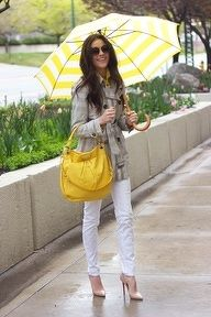 grey trench white skinnies & yellow accessories ~ fresh