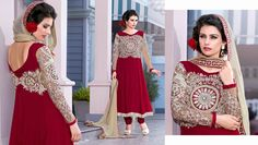 Maroon Bamberg Salwar Kameez embellished with zari, resham embroidery with stone work and patch patta work.
