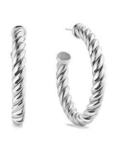 Y19N6 David Yurman Cable Classics Hoop Earrings