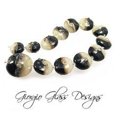 Black n White Handmade Lampwork Glass Beads Set of (13) plus a Focal Bead plus 2 for earrings SRA. $75.00, via Etsy.