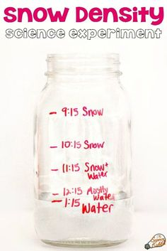 A snow density science experiment for kids is a fun and easy winter STEM activity to discover the density of snow. Simply gather snow in a jar, watch it melt, and record the results! Educational Activities For Kids, Winter Stem Activities For Kids, Kindergarten Science Activities, Snow Activities, Stem For Kids, Science Classroom, Kindergarten Stem, Preschool Winter, Elementary Science