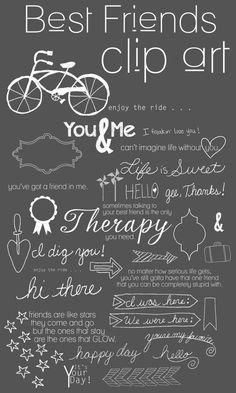 34 Best Friend Photoshop Brushes Word Art Set /Chalkboard/ Chalk/ Overlays / Clip Art / Digital Stamps / Digital Scrapbooking