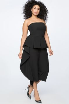 11d22f13b053 Black Plus Size Cascade Cropped Jumpsuit - This one-and-done design is taken