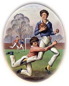 William Webb Ellis at Rugby. The incident in which Webb Ellis supposedly caught the ball in his arms during a football match (which was allowed) and ran with it (which was not) is supposed to have happened in the latter half of Rugby School, Football Match, Sports Art, Rowing, Kicks, Baseball Cards, History, Funny, Middle Ages