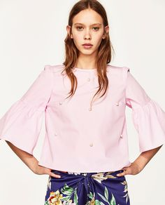 ZARA PINK TOP WITH PEARL BUTTONS