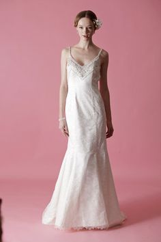 """""""Hannah"""" by Badgley Mischka; pinner says """" I like the thin straps for a small beasted woman like my daughter."""""""