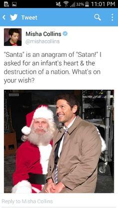 Castiel and Satan / Lucifer ! Santa     Misha Collins + Twitter     Supernatural