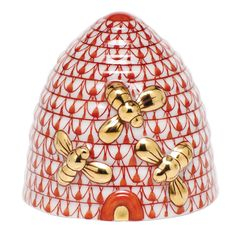 """Herend Hand Painted Porcelain Figurine """"Beehive"""" Rust Fishnet Gold Accents."""