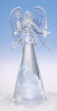 """14"""" Icy Crystal LED Lighted Angel with Holy Family Christmas Nativity Figure Roman http://www.amazon.com/dp/B003F1NMTM/ref=cm_sw_r_pi_dp_1c2yub152QDV2"""