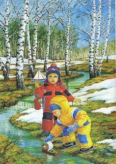 Фото, автор olg.j2011 на Яндекс.Фотках Artwork Images, Art Pictures, Image Nice, Winter Illustration, Winter Painting, Paradise On Earth, Children Photography, Illustrations Posters, Vintage Art