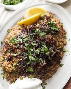 Lentils And Rice With Caramelized Onions. **The lentils definitely need a longer cook time for this recipe though.
