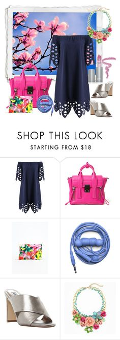 """""""off the shoulder spring dress"""" by pinkice ❤ liked on Polyvore featuring 3.1 Phillip Lim, Missguided, Urbanears, Dune and PurMinerals"""