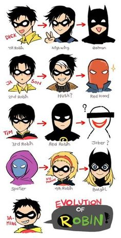 DCU - dick grayson, jason todd, tim drake , stephanie brown, damian wayne ( robins )