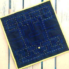 Back of the #pacman #mini #quilt #doubleminiquiltswap #doubleminiswap #swap #miniquilt #oldschool #game #oldgame