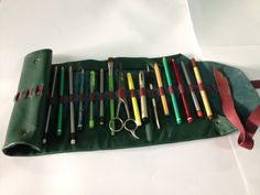 Handmade green leather pencil case artist's tool by Nebulagalata