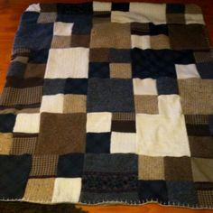 Homemade wool sweater blanket